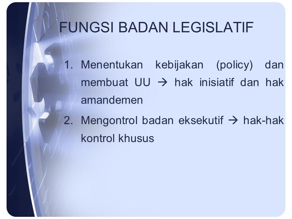FUNGSI BADAN LEGISLATIF 1.Menentukan kebijakan (policy) dan membuat UU  hak inisiatif dan hak amandemen 2.Mengontrol badan eksekutif  hak-hak kontro