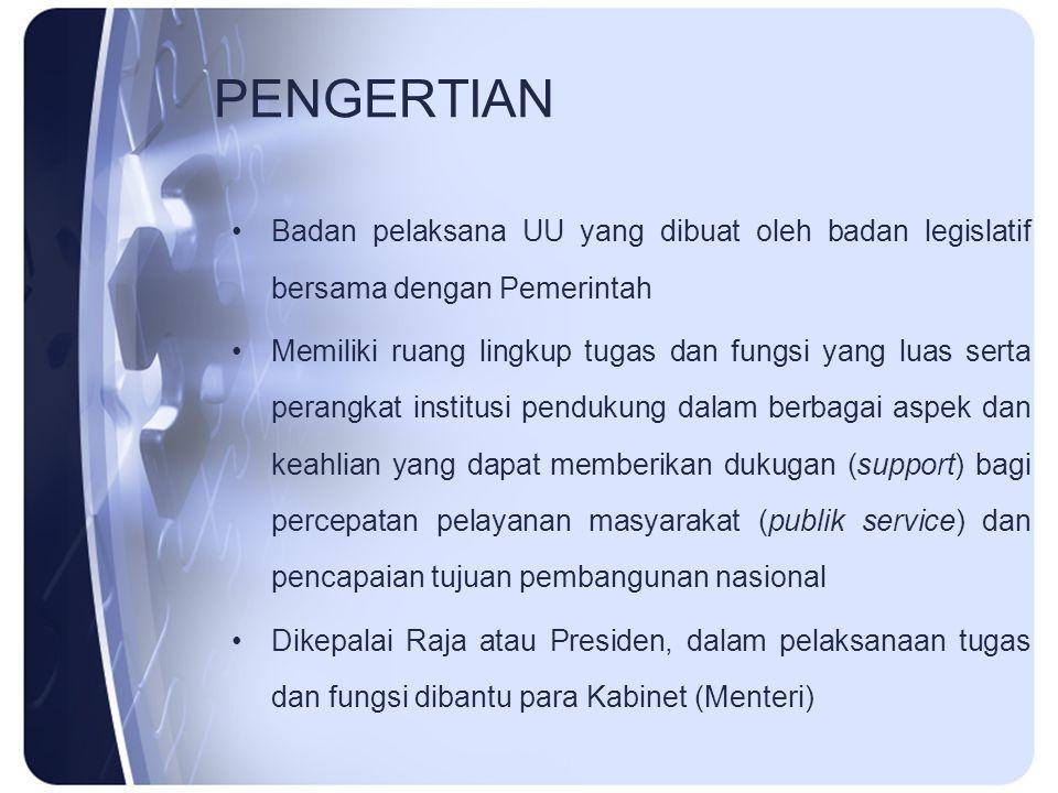 PENGERTIAN Badan pelaksana UU yang dibuat oleh badan legislatif bersama dengan Pemerintah Memiliki ruang lingkup tugas dan fungsi yang luas serta pera