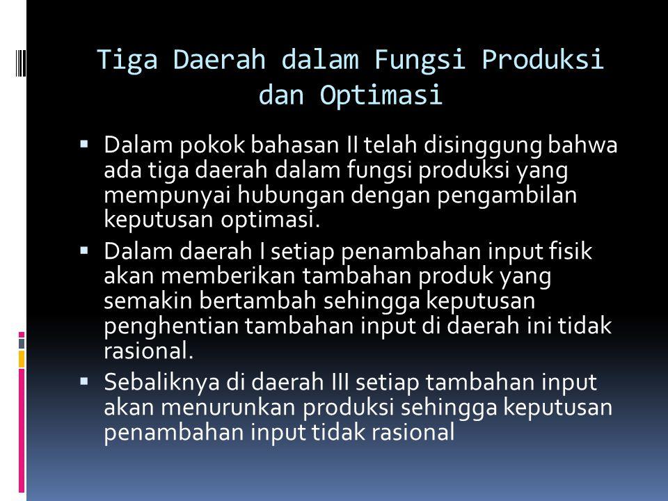 Tiga Daerah dalam Fungsi Produksi dan Optimasi  Dalam pokok bahasan II telah disinggung bahwa ada tiga daerah dalam fungsi produksi yang mempunyai hu