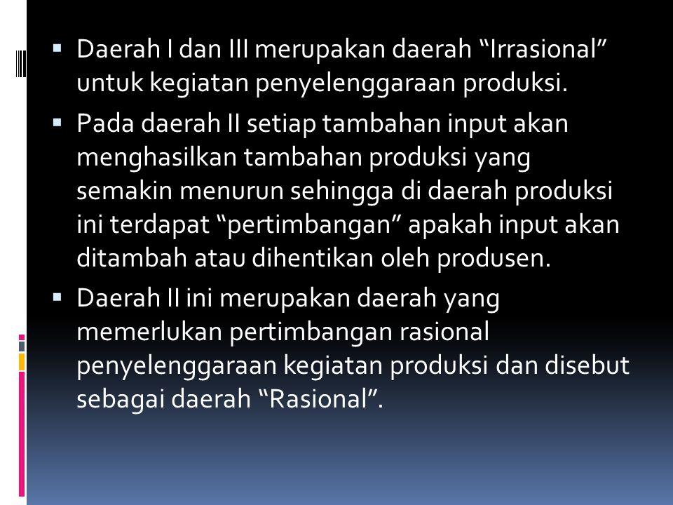 """ Daerah I dan III merupakan daerah """"Irrasional"""" untuk kegiatan penyelenggaraan produksi.  Pada daerah II setiap tambahan input akan menghasilkan tam"""