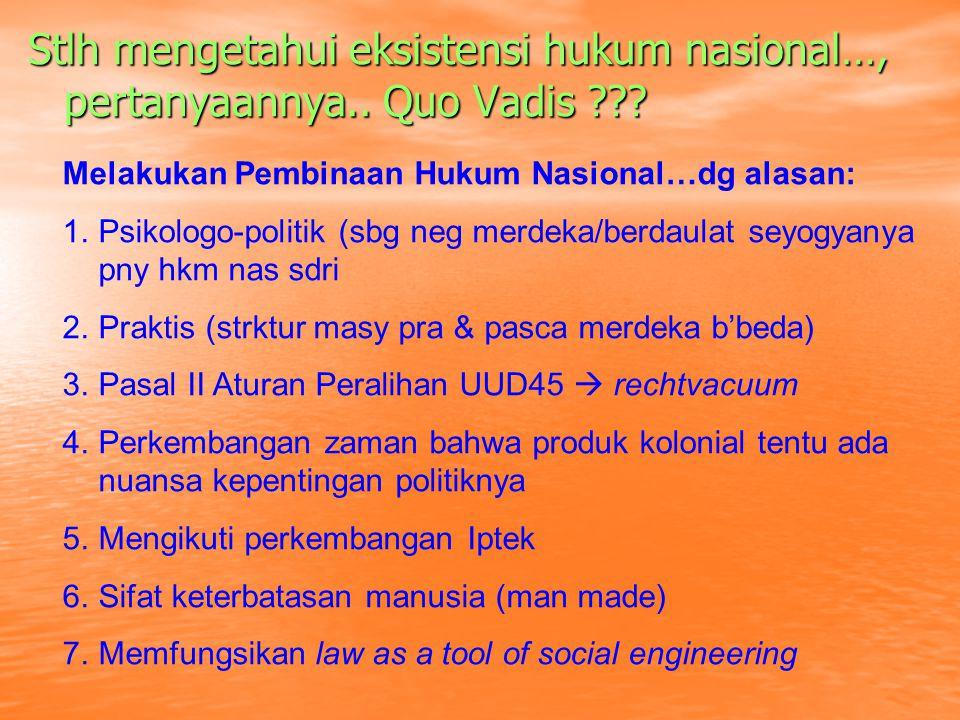 Realita, paling tidak ada 3 (tiga) Sub Sistem Hukum Indonesia yakni Hukum Barat, Hukum Adat dan Hukum Islam Sistem Hukum Nas Sbg suatu sistem hkm nas maka berbagai unsur/komponen yg terkait slg pengaruh mempengaruhi memiliki asas/prinsip yg mjd pengikat yakni PANCASILA & UUD 1945