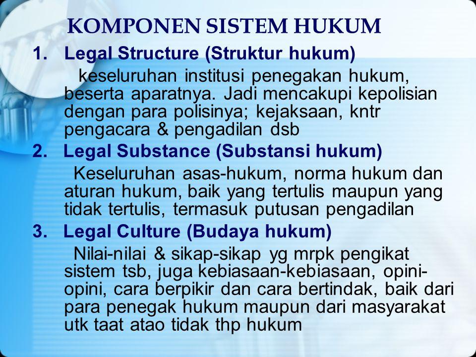 KOMPONEN SISTEM HUKUM 1.Legal Structure (Struktur hukum) keseluruhan institusi penegakan hukum, beserta aparatnya. Jadi mencakupi kepolisian dengan pa
