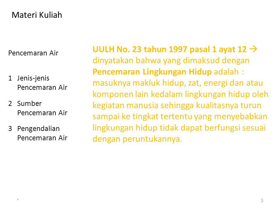 Materi Kuliah *3 Pencemaran Air 1Jenis-jenis Pencemaran Air 2Sumber Pencemaran Air 3Pengendalian Pencemaran Air UULH No. 23 tahun 1997 pasal 1 ayat 12