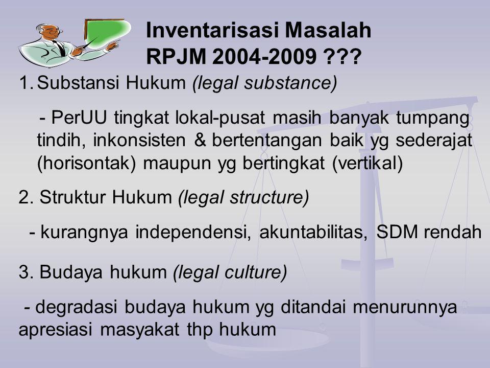 1.Substansi Hukum (legal substance) - PerUU tingkat lokal-pusat masih banyak tumpang tindih, inkonsisten & bertentangan baik yg sederajat (horisontak)