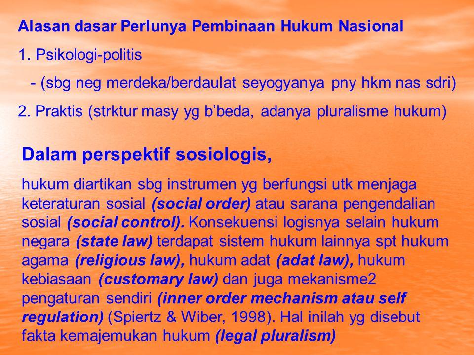 Legal pluralism (pluralisme hukum)) scr umum digunakan utk menjelaskan suatu situasi dimana dua atau lebih sistem hukum berlaku secara berdampingan dlm satu bidang kehidupan sosial (social field); atau utk menjelaskan keberadaan dua atau lebih sistem pengendalian sosial yg berlaku dlm masy (Griffiths, 1986); atau suatu kondisi dmn lebih dr satu sistem hkm bkerja scr brdampingan dlm aktivitas & hubgn dlm masy (Evon Benda-Beckmann, 1999) Ajaran pluralisme hukum sering dipertentangkan dg sentralisme hukum (legal centralism) Ideologi sentralisme hukum diartikan sbg ideologi yg menghendaki pemberlakuan hukum negara (state law) sbg satu-satunya hukum bagi semua warga masya dg mengabaikan keberadaan sistem2 hukum yg lain seperti hukum agama (religious law), hukum kebiasaan (customary law), mekanisme2 pengaturan sendiri (self regulation) (Griffith, 1968: 12).