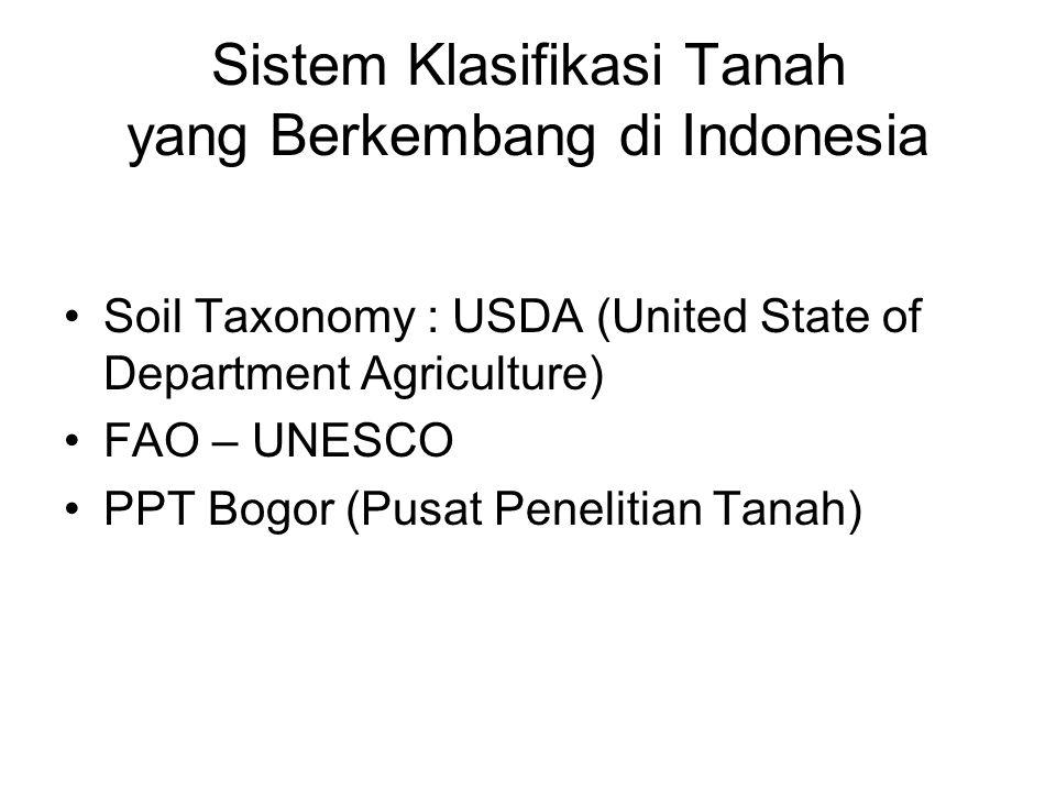 Sistem Klasifikasi Tanah yang Berkembang di Indonesia Soil Taxonomy : USDA (United State of Department Agriculture) FAO – UNESCO PPT Bogor (Pusat Pene