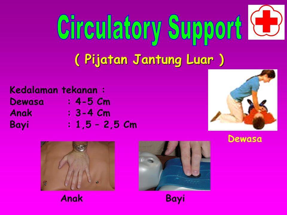 ( Bantuan Pernafasan ) Frekuensi pernafasan : Dewasa : 10 –12 X / menit Anak ( 1-8 th ) ; 20 X / menit Bayi : lebih dari 20 X /menit Bayi baru lahir ;