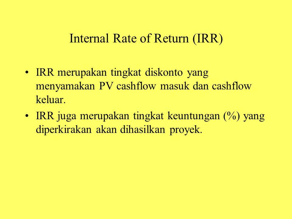 Internal Rate of Return (IRR) IRR merupakan tingkat diskonto yang menyamakan PV cashflow masuk dan cashflow keluar. IRR juga merupakan tingkat keuntun