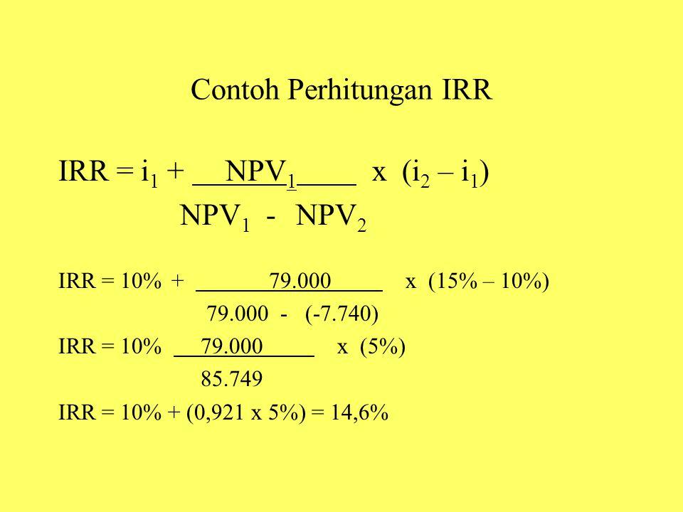 Contoh Perhitungan IRR IRR = i 1 + NPV 1 x (i 2 – i 1 ) NPV 1 - NPV 2 IRR = 10% + 79.000 x (15% – 10%) 79.000 - (-7.740) IRR = 10% 79.000 x (5%) 85.74
