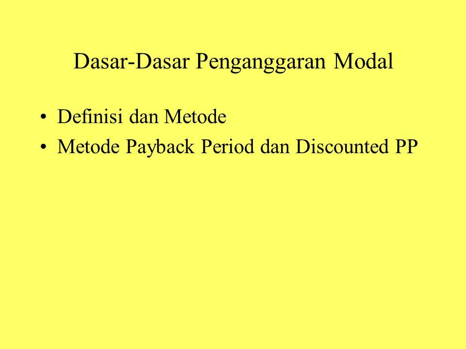 Dasar-Dasar Penganggaran Modal Definisi dan Metode Metode Payback Period dan Discounted PP