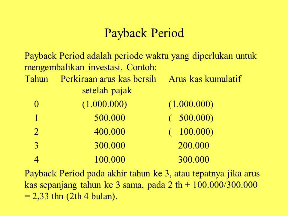 Payback Period Payback Period adalah periode waktu yang diperlukan untuk mengembalikan investasi. Contoh: Tahun Perkiraan arus kas bersihArus kas kumu