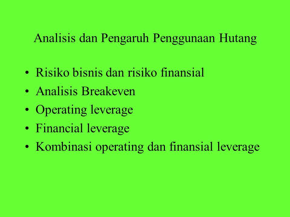 Risiko bisnis dan risiko finansial Analisis Breakeven Operating leverage Financial leverage Kombinasi operating dan finansial leverage