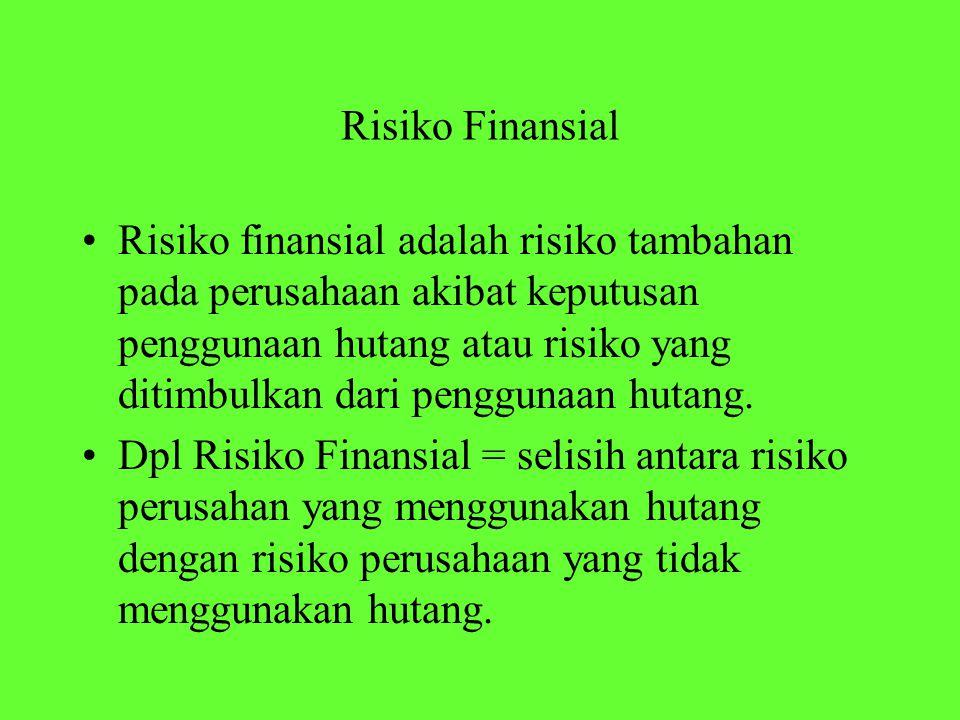 Risiko Finansial Risiko finansial adalah risiko tambahan pada perusahaan akibat keputusan penggunaan hutang atau risiko yang ditimbulkan dari penggunaan hutang.
