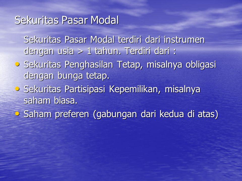 Sekuritas Pasar Modal Sekuritas Pasar Modal terdiri dari instrumen dengan usia > 1 tahun. Terdiri dari : Sekuritas Penghasilan Tetap, misalnya obligas