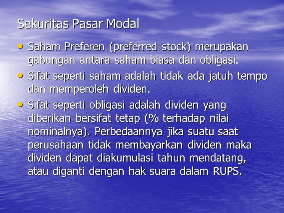 Sekuritas Pasar Modal Saham Preferen (preferred stock) merupakan gabungan antara saham biasa dan obligasi. Saham Preferen (preferred stock) merupakan
