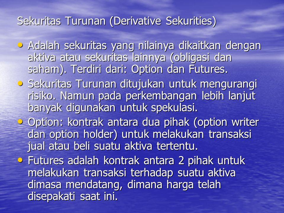 Sekuritas Turunan (Derivative Sekurities) Adalah sekuritas yang nilainya dikaitkan dengan aktiva atau sekuritas lainnya (obligasi dan saham). Terdiri