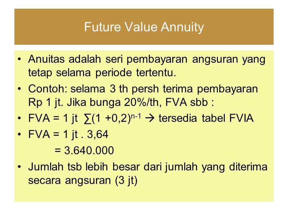 Future Value Annuity Anuitas adalah seri pembayaran angsuran yang tetap selama periode tertentu. Contoh: selama 3 th persh terima pembayaran Rp 1 jt.