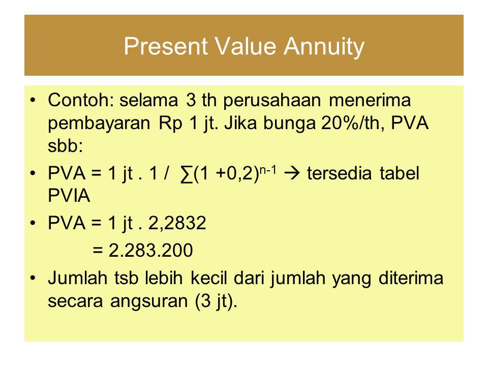 Present Value Annuity Contoh: selama 3 th perusahaan menerima pembayaran Rp 1 jt. Jika bunga 20%/th, PVA sbb: PVA = 1 jt. 1 / ∑(1 +0,2) n-1  tersedia