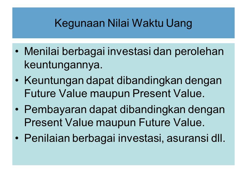 Kegunaan Nilai Waktu Uang Menilai berbagai investasi dan perolehan keuntungannya. Keuntungan dapat dibandingkan dengan Future Value maupun Present Val