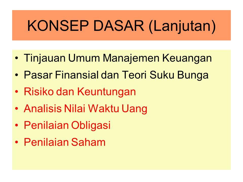 KONSEP DASAR (Lanjutan) Tinjauan Umum Manajemen Keuangan Pasar Finansial dan Teori Suku Bunga Risiko dan Keuntungan Analisis Nilai Waktu Uang Penilaia