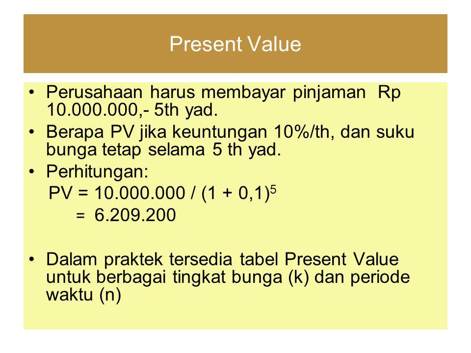 Present Value Perusahaan harus membayar pinjaman Rp 10.000.000,- 5th yad. Berapa PV jika keuntungan 10%/th, dan suku bunga tetap selama 5 th yad. Perh