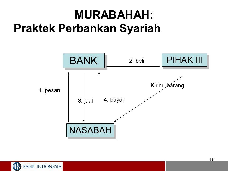 16 MURABAHAH: Praktek Perbankan Syariah BANK NASABAH PIHAK III 1. pesan 2. beli Kirim barang 4. bayar 3. jual