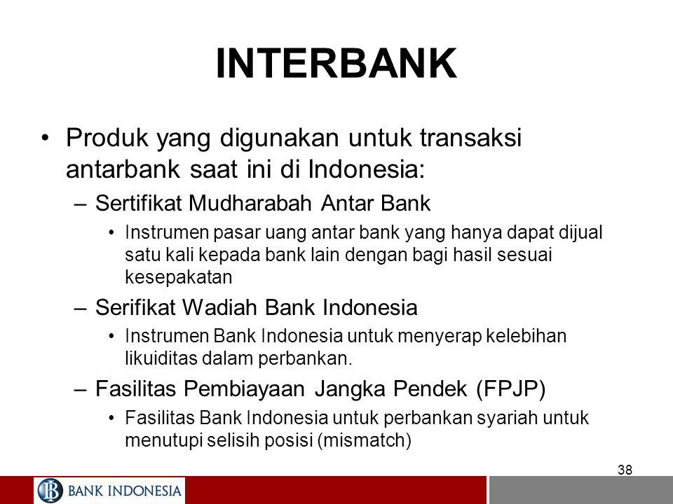38 INTERBANK Produk yang digunakan untuk transaksi antarbank saat ini di Indonesia: –Sertifikat Mudharabah Antar Bank Instrumen pasar uang antar bank