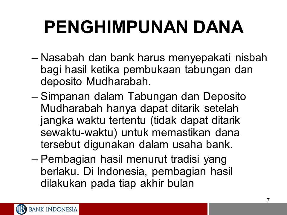 7 PENGHIMPUNAN DANA –Nasabah dan bank harus menyepakati nisbah bagi hasil ketika pembukaan tabungan dan deposito Mudharabah. –Simpanan dalam Tabungan
