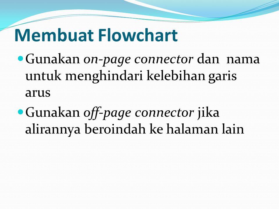 Gunakan on-page connector dan nama untuk menghindari kelebihan garis arus Gunakan off-page connector jika alirannya beroindah ke halaman lain Membuat Flowchart