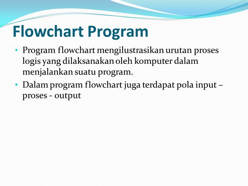 Program flowchart mengilustrasikan urutan proses logis yang dilaksanakan oleh komputer dalam menjalankan suatu program.
