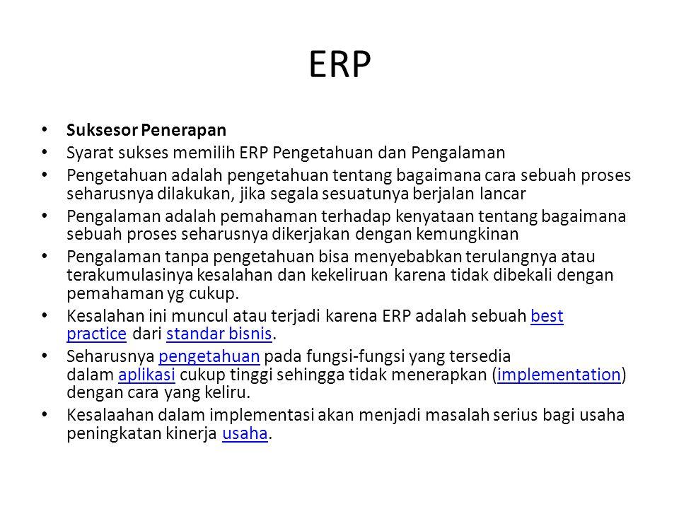 ERP Suksesor Penerapan Syarat sukses memilih ERP Pengetahuan dan Pengalaman Pengetahuan adalah pengetahuan tentang bagaimana cara sebuah proses seharusnya dilakukan, jika segala sesuatunya berjalan lancar Pengalaman adalah pemahaman terhadap kenyataan tentang bagaimana sebuah proses seharusnya dikerjakan dengan kemungkinan Pengalaman tanpa pengetahuan bisa menyebabkan terulangnya atau terakumulasinya kesalahan dan kekeliruan karena tidak dibekali dengan pemahaman yg cukup.