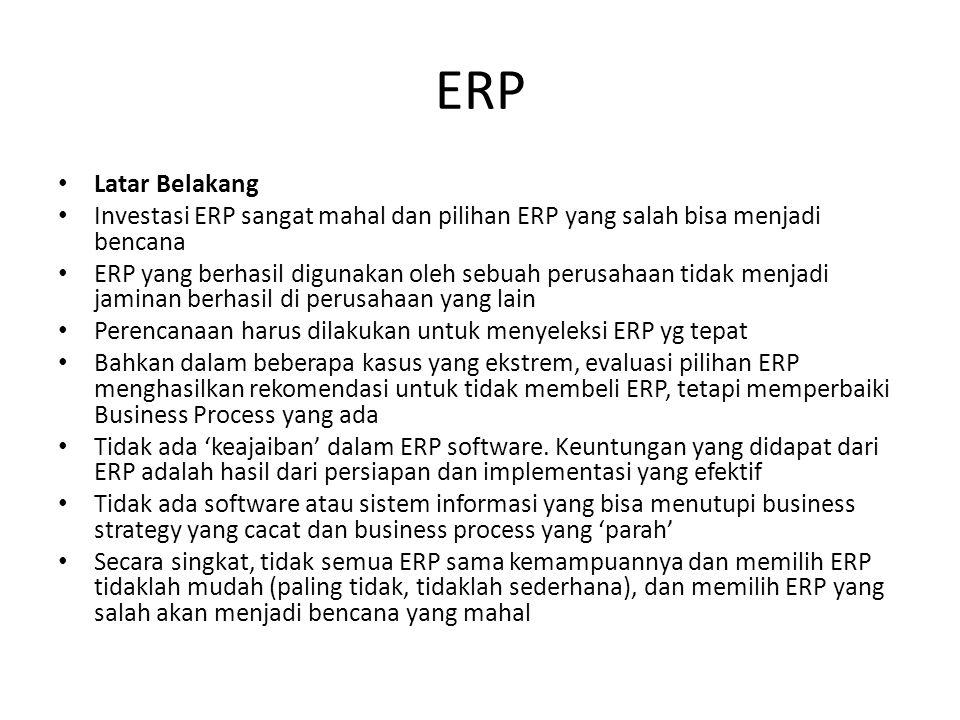 ERP Latar Belakang Investasi ERP sangat mahal dan pilihan ERP yang salah bisa menjadi bencana ERP yang berhasil digunakan oleh sebuah perusahaan tidak menjadi jaminan berhasil di perusahaan yang lain Perencanaan harus dilakukan untuk menyeleksi ERP yg tepat Bahkan dalam beberapa kasus yang ekstrem, evaluasi pilihan ERP menghasilkan rekomendasi untuk tidak membeli ERP, tetapi memperbaiki Business Process yang ada Tidak ada 'keajaiban' dalam ERP software.
