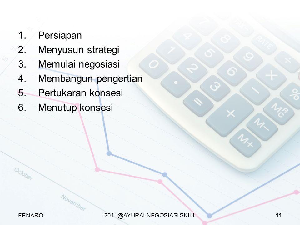2011@AYURAI-NEGOSIASI SKILL Proses negosiasi efektif 1.Persiapan 2.Menyusun strategi 3.Memulai negosiasi 4.Membangun pengertian 5.Pertukaran konsesi 6.Menutup konsesi FENARO11
