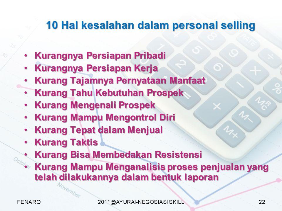2011@AYURAI-NEGOSIASI SKILL 10 Hal kesalahan dalam personal selling Kurangnya Persiapan PribadiKurangnya Persiapan Pribadi Kurangnya Persiapan KerjaKu