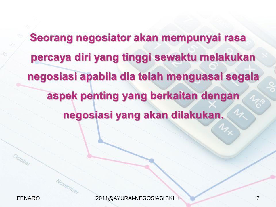 2011@AYURAI-NEGOSIASI SKILL Seorang negosiator akan mempunyai rasa percaya diri yang tinggi sewaktu melakukan negosiasi apabila dia telah menguasai se