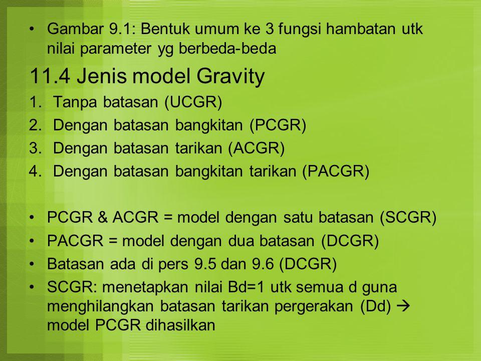 Saat Penggunaan Model Gravity Bila info survey baik dan tersedia, model DCGR sgt baik digunakan Model DCGR digunakan pada kasus yang ramalan bangkitan dan tarikan cukup baik di masa yad Utk tujuan perjalanan ke tempat bekerja atau sekolah lebih tepat taksiran bangkitan dan tarikannya dibandingkan dengan tujuan perjalanan lain misal ke pusat perbelanjaan Scr umum, bangkitan pergerakan berbasis rumah lebih dapat diyakini kebenarannya dibandingkan dengan tarikan pergerakan Pergerakan berbasis rumah umumnya menggunakan model PCGR atau DCGR