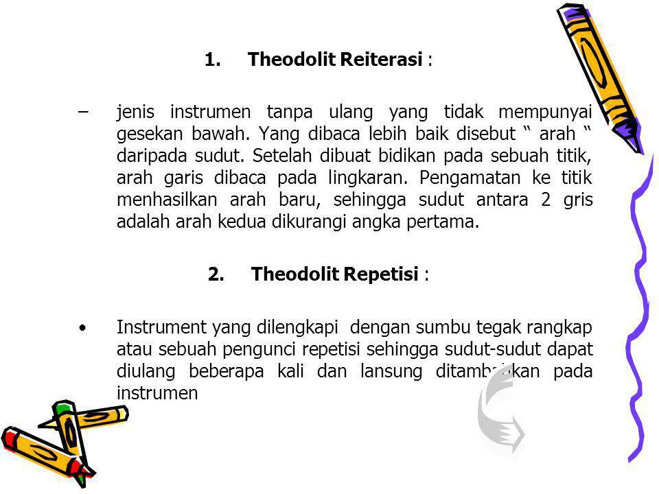 1.Theodolit Reiterasi : –jenis instrumen tanpa ulang yang tidak mempunyai gesekan bawah.
