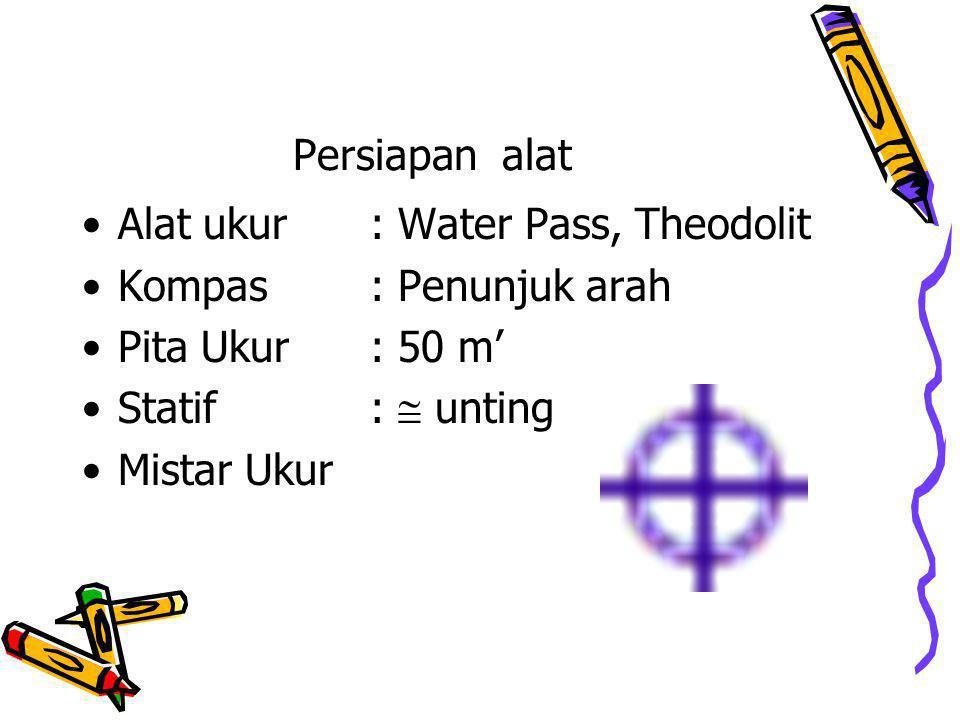 Persiapan alat Alat ukur : Water Pass, Theodolit Kompas: Penunjuk arah Pita Ukur: 50 m' Statif:  unting Mistar Ukur