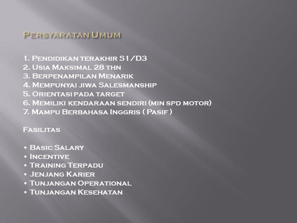 1.Pendidikan terakhir S1/D3 2. Usia Maksimal 28 thn 3.