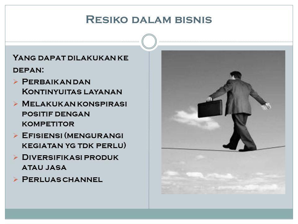 Resiko dalam bisnis Yang dapat dilakukan ke depan:  Perbaikan dan Kontinyuitas layanan  Melakukan konspirasi positif dengan kompetitor  Efisiensi (mengurangi kegiatan yg tdk perlu)  Diversifikasi produk atau jasa  Perluas channel