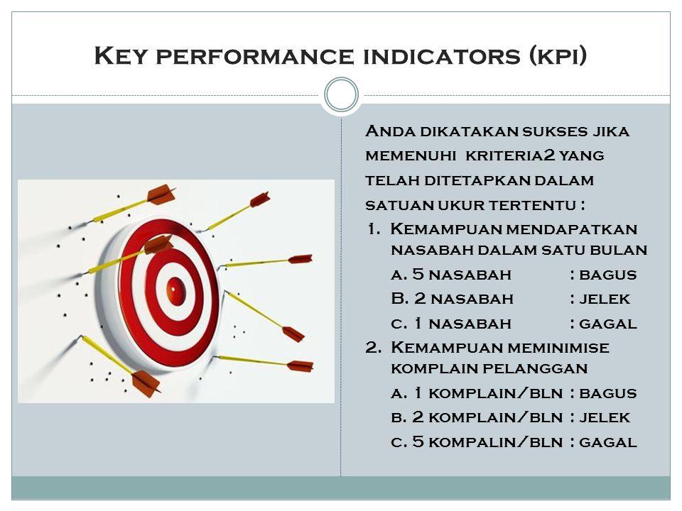 Key performance indicators (kpi) Anda dikatakan sukses jika memenuhi kriteria2 yang telah ditetapkan dalam satuan ukur tertentu : 1.