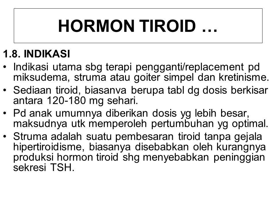 HORMON TIROID … Tujuan pemberian sediaan tiroid pd penderita struma adalah memperoleh kdr hormon tiroid yg cukup utk menghambat sekresi TSH, shg goiternya berkurang.