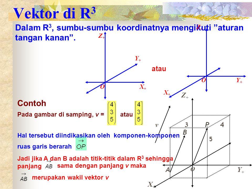 Vektor di R 3 Dalam R 3, sumbu-sumbu koordinatnya mengikuti aturan tangan kanan .