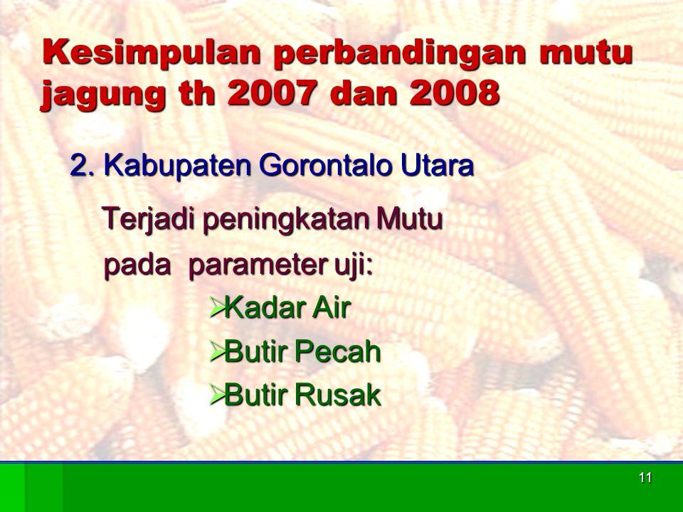 11 Kesimpulan perbandingan mutu jagung th 2007 dan 2008 2. Kabupaten Gorontalo Utara Terjadi peningkatan Mutu Terjadi peningkatan Mutu pada parameter