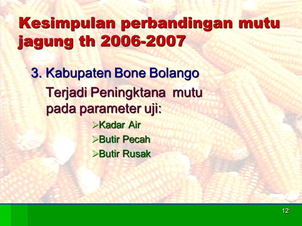 12 Kesimpulan perbandingan mutu jagung th 2006-2007 3. Kabupaten Bone Bolango Terjadi Peningktana mutu pada parameter uji: Terjadi Peningktana mutu pa
