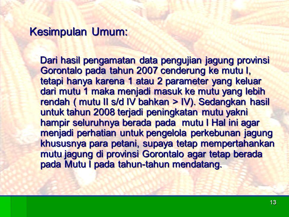 13 Kesimpulan Umum: Dari hasil pengamatan data pengujian jagung provinsi Gorontalo pada tahun 2007 cenderung ke mutu I, tetapi hanya karena 1 atau 2 p