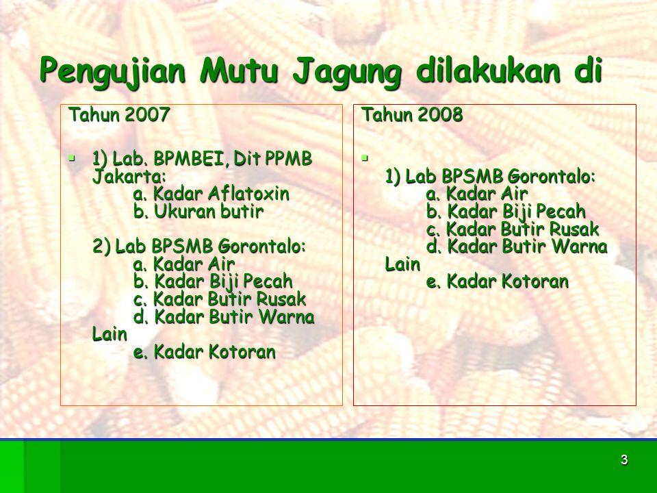 3 Pengujian Mutu Jagung dilakukan di Tahun 2007  1) Lab. BPMBEI, Dit PPMB Jakarta: a. Kadar Aflatoxin b. Ukuran butir 2) Lab BPSMB Gorontalo: a. Kada