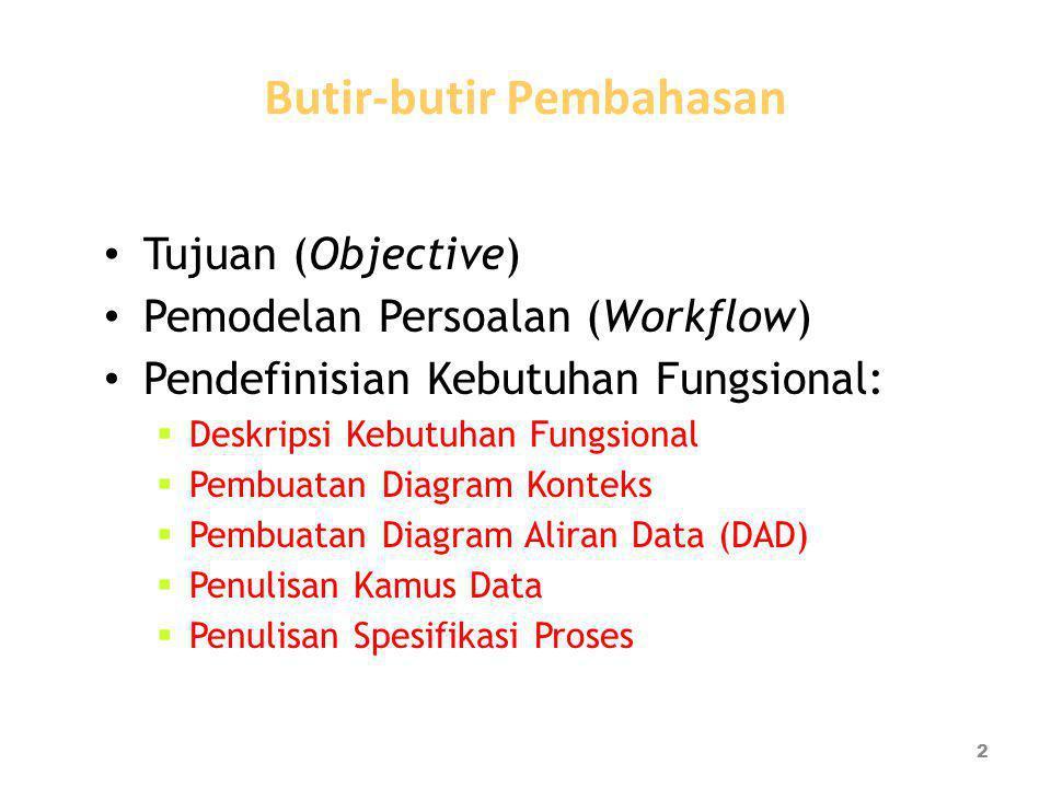 Butir-butir Pembahasan Tujuan (Objective) Pemodelan Persoalan (Workflow) Pendefinisian Kebutuhan Fungsional:  Deskripsi Kebutuhan Fungsional  Pembuatan Diagram Konteks  Pembuatan Diagram Aliran Data (DAD)  Penulisan Kamus Data  Penulisan Spesifikasi Proses 2