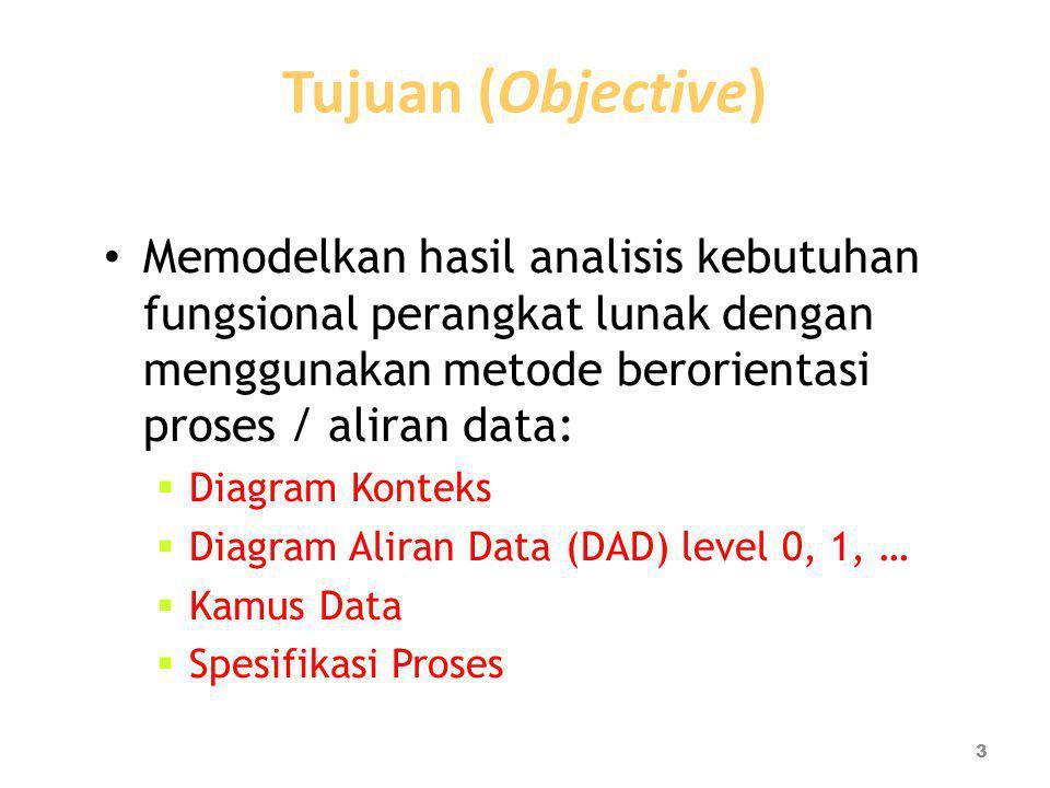Tujuan (Objective) Memodelkan hasil analisis kebutuhan fungsional perangkat lunak dengan menggunakan metode berorientasi proses / aliran data:  Diagr
