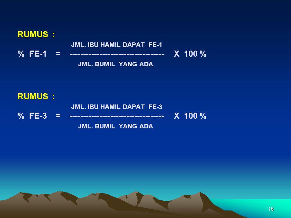 18 RUMUS : JML. IBU HAMIL DAPAT FE-1 % FE-1 = ----------------------------------- X 100 % JML. BUMIL YANG ADA RUMUS : JML. IBU HAMIL DAPAT FE-3 % FE-3